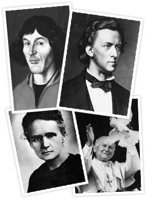 Znani Polacy: Mikołaj Kopernik, Fryderyk Chopin, Maria Skłodowska-Curie, Jan Paweł II. Każde dziecko ma potencjał, by na swój sposób wnieść wkład w rozwój ludzkości
